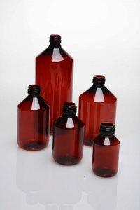 Fles bruin plastiek met wit klapdeksel